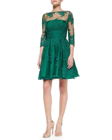 e7f2aebc34c ML Monique Lhuillier 3 4-Sleeve Lace Illusion Cocktail Dress