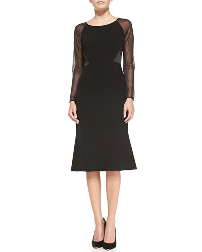 Regina Sheer-Sleeve Dress