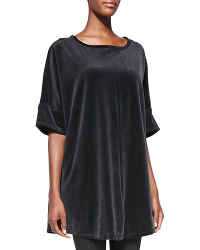 Missy Half-Sleeve Velour Tunic, Majestic Plum