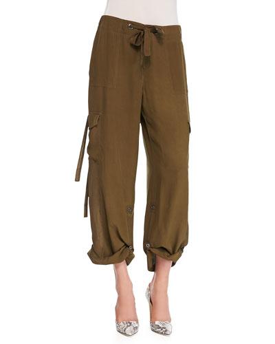 Silk Cargo Pants, Women's