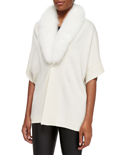 Short-Sleeve Fur-Trim Tunic Top