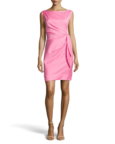 Tie-Waist Ruched Dress, Hot Pink