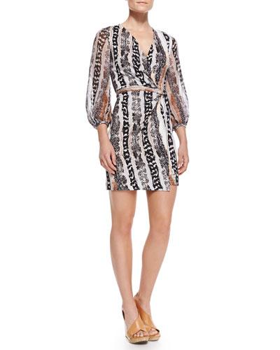 Sigourney Snake-Print Short Wrap Dress