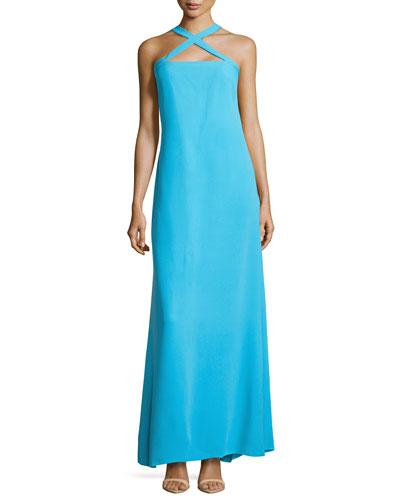 Crisscross Halter Silk Maxi Dress, Aztec Blue
