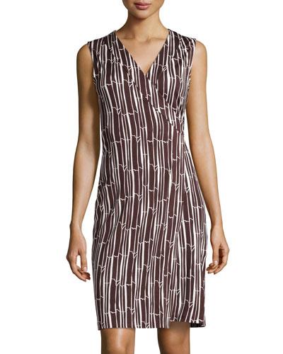 Sleeveless Printed Wrap Dress, Bamboo