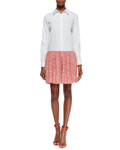 Alison Contrast Shirtdress, White/Chile Mesh