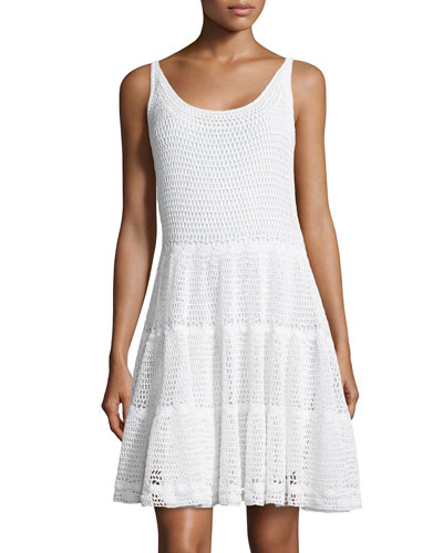 Sleeveless Crochet Fit-&-Flare Dress