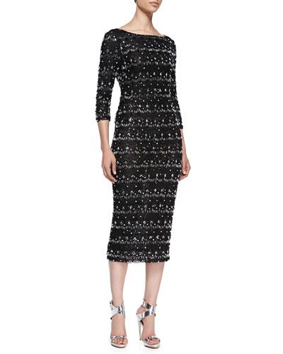 Stein Scalloped Beaded 3/4-Sleeve Sheath Dress