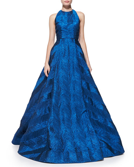 Alice Olivia Teifer Feather Pattern Metallic Ball Gown
