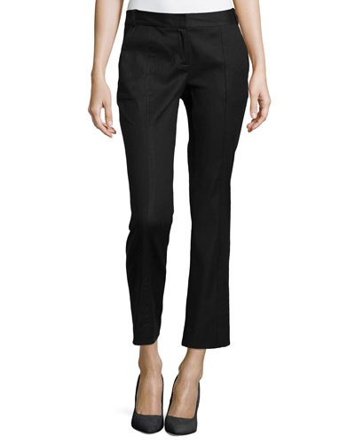 Center-Seam Ankle Slim Pants, Black