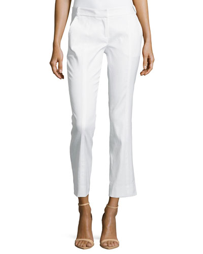 Center-Seam Ankle Slim Pants, White