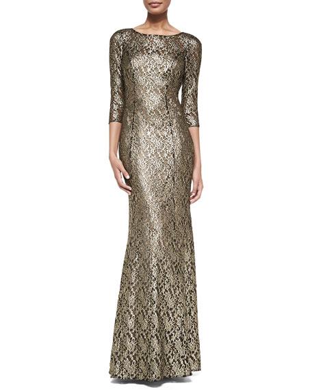 afc7d0c1c33 Kay Unger New York 3 4-Sleeve Metallic Lace Gown. 3 4-Sleeve Metallic Lace  Gown