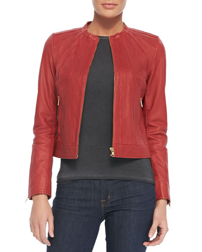 Seamed Zip-Front Leather Jacket
