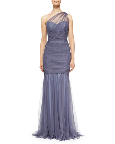 One-Shoulder Draped Mermaid Gown, Periwinkle