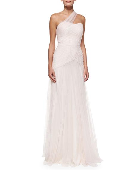 Monique Lhuillier One-Shoulder Draped Tulle Gown, Blush