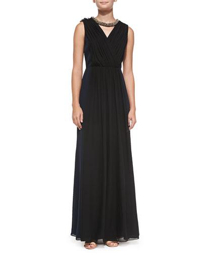 Meryl Pleated Silk Gown