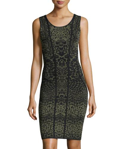 Leopard-Print Trimmed Sheath Dress, Black/Olive