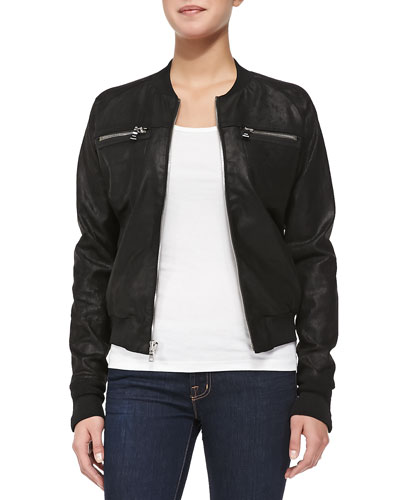 Knit-Trim Leather Bomber Jacket