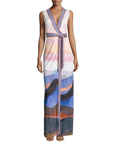 New Yahzi Sandscape-Print Long Dress