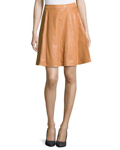 Riley Lambskin Leather Skirt, Cognac
