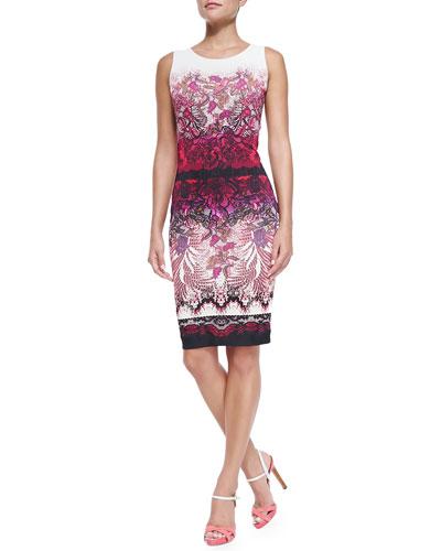 Sleeveless Floral Lace-Print Sheath Dress