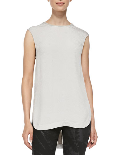 Pebble-Pattern Sleeveless Silk Top