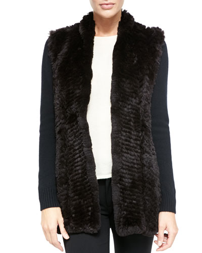 Fur Front Cashmere Cardigan