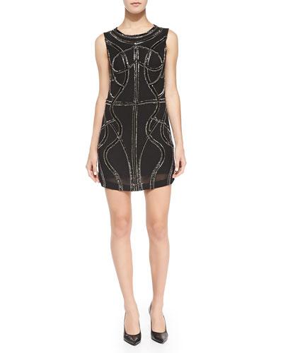 Angelica Sleeveless Beaded Mini Dress