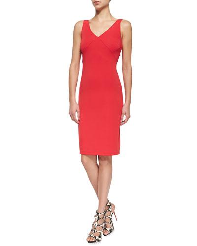 Slow Dance Sleeveless Ruffled-Front Dress