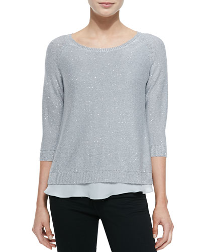 Sequined Knit 3/4-Sleeve Tunic