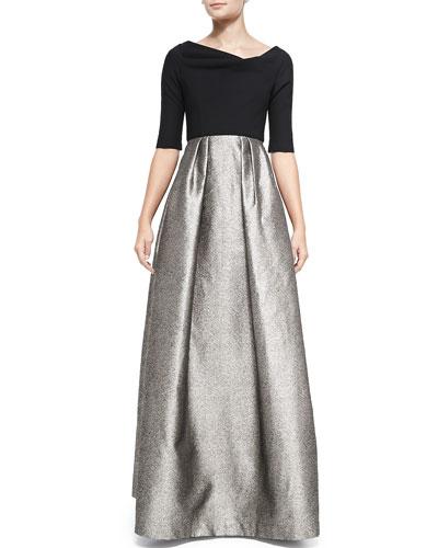 Hayley Metallic-Skirt Combo Gown