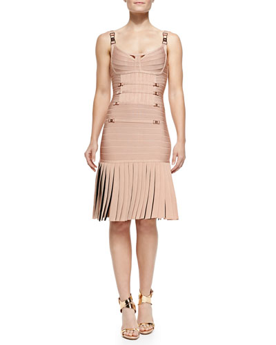 Milena Pleated Bandage Dress, Pink Champagne