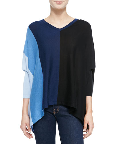 Silky Long-Sleeve Colorblock Tunic
