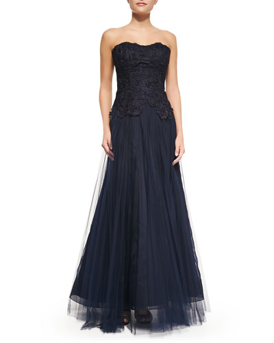 Floral Embroidered Strapless Gown, Navy