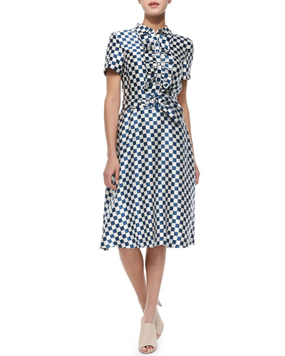 Satin Check-Print Tie-Waist Dress
