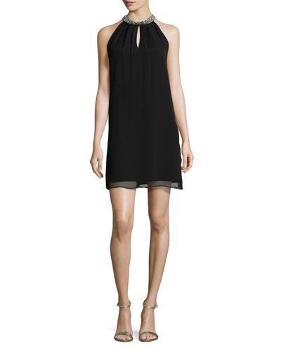 Lainey Embellished Halter Dress, Black