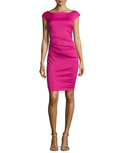 Gabi Asymmetric Gathered Slim Dress, Pink Dhalia