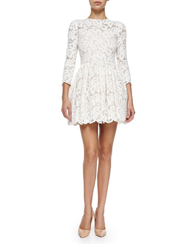 Vincent Long-Sleeve Pleated Lace Dress