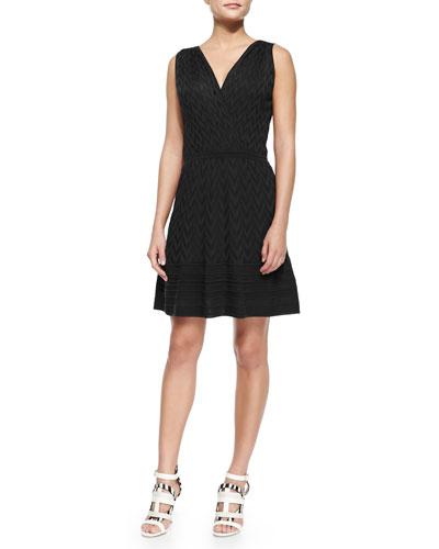 Sleeveless Solid Chevron Dress, Black