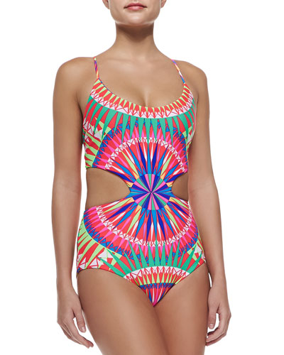 Strappy-Back Printed Cutout One-Piece Swimsuit