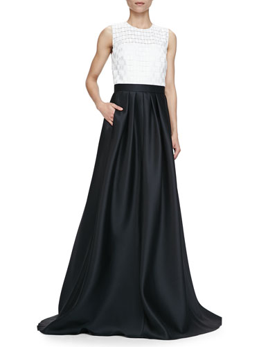 Sleeveless Combo Ball Gown, Ivory Black