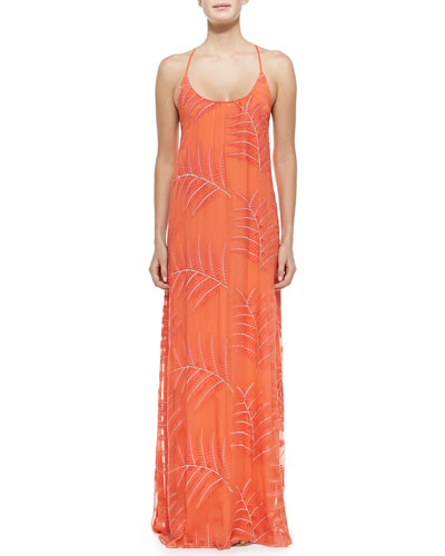Kelly Palm-Print Chiffon Maxi Dress