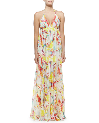 McBain Printed Silk Halter Dress