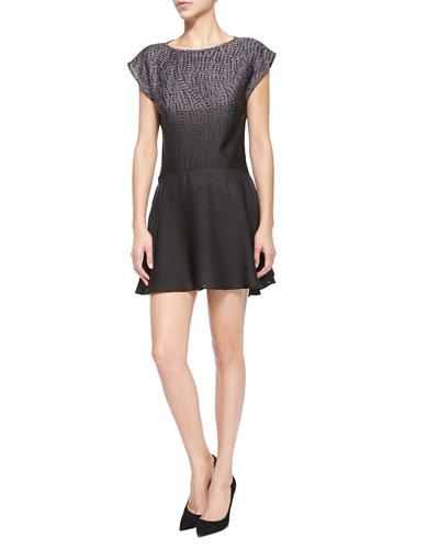 Short-Sleeve Printed Ombre Mini Dress