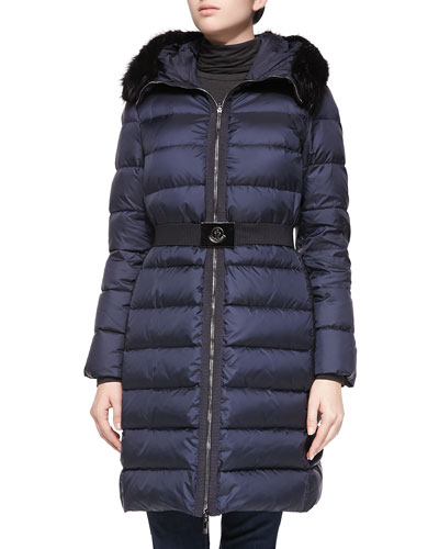 Fabrege Fur-Trim Puffer Coat, Navy