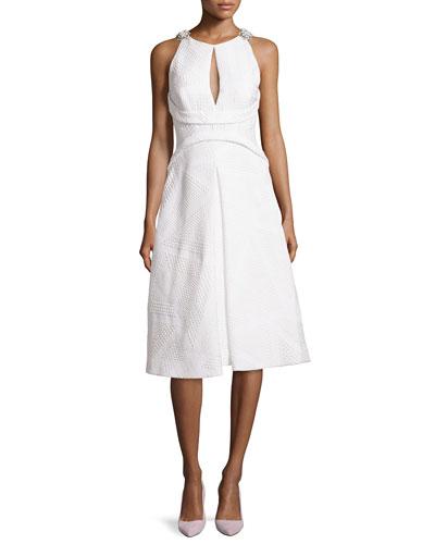 Jacquard Embellished A-line Dress