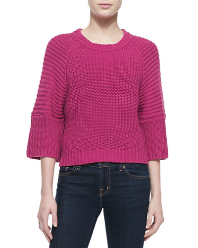 Cropped Crewneck Shaker Sweater