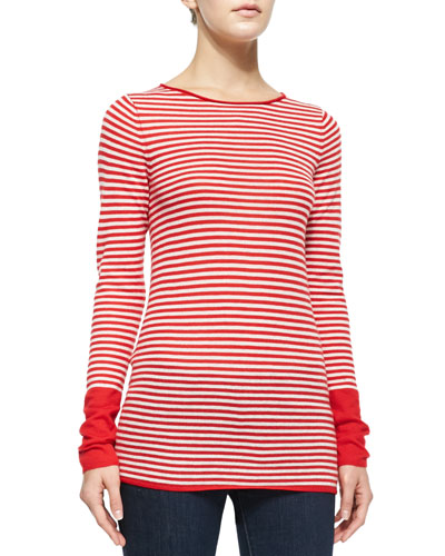Long-Sleeve Striped Cashmere Top