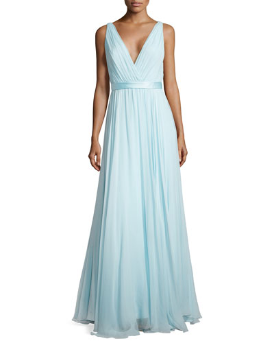 Chiffon Gown with Deep V Neckline