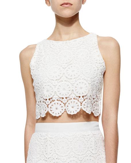 ec6a15071c3 Miguelina Rosi Floral-Lace Crop Top